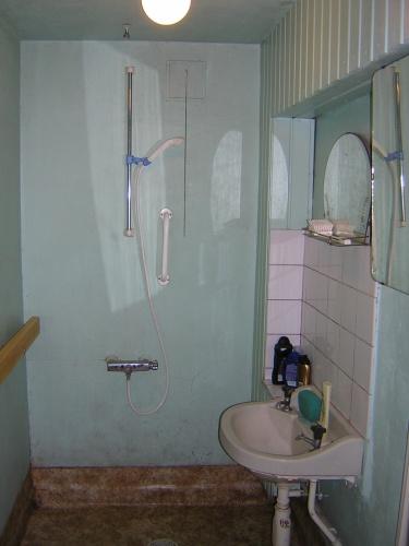 Så här ser duschrummet i källaren ut (som nu blir tvättstuga)