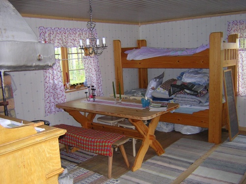 Så här fint blev det efter ommöbleringen (1 rum med 2 sängar, 2 bord, 1 soffa, 2 skåp och 1 eldstad)