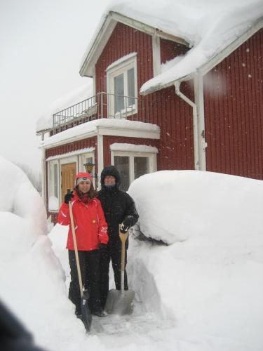 När vi väl fått undan snön framför huset..